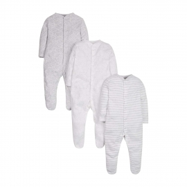 Mothercare - Pijamale body all-in-one, 3 buc, Animals Grey