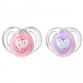 Tommee Tippee - Suzete Night Time Hearts, 6-18 luni Roz