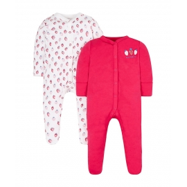 Mothercare - Pijamale body all-in-one, 2 buc, Strawberry