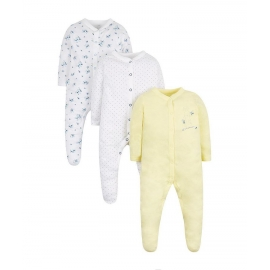 Mothercare - Pijamale body all-in-one Floral Bunny, 3 buc