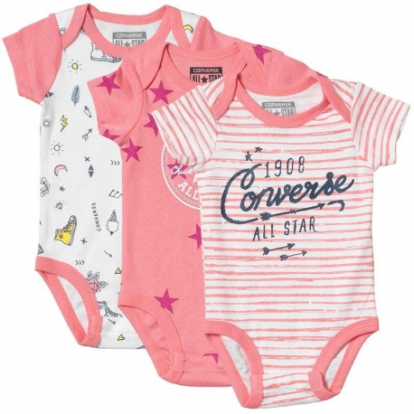 Converse - All Star Infant Set 3 Body Gift, Stars&Sneakers