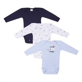 Absorba - Set 3 body cu maneca lunga, Blue Dog