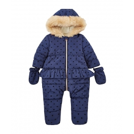 Mothercare - Combinezon iarna fete, Fur & Navy Hearts