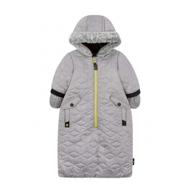 Mothercare - Combinezon iarna tip saculet, Metallic Grey Velour