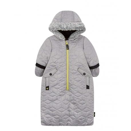 Mothercare - Combinezon iarna tip saculet, Metallic Grey Velour