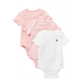 GAP - Set 3 body-uri cu maneca scurta First Favourites, Pink