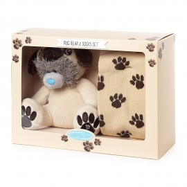 "Me to You - Set Cadou Ursulet Tatty Teddy Costumat Dog, Small, 5"" si Sosete Paw Print"