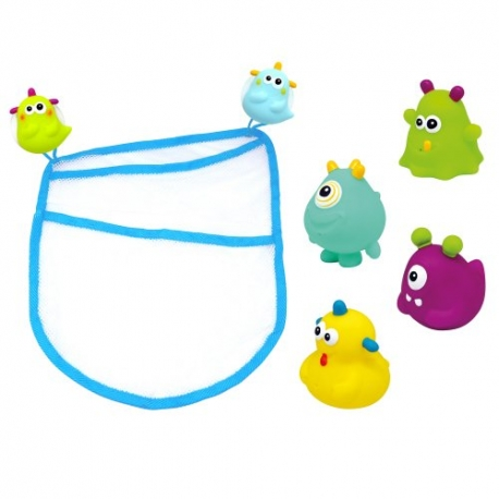 beboo Escabbo - Set saculet si 4 jucarii de baie tasnitoare happy monster