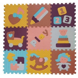 Babygreat - Covoras Puzzle Lumea jucariilor 92x92 cm