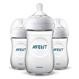 Philips AVENT - Set Biberoane Natural, 260 ml, 1 luni +, 3 BUC