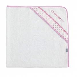 NAF NAF - Prosop baie cu gluga bumbac, 100x100 cm Heart Pink