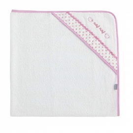 NAF NAF - Prosop baie cu gluga bumbac, Heart Pink