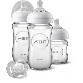 Philips AVENT - Kit Biberoane Natural Sticla 120 ml si 250 ml, 0 luni +