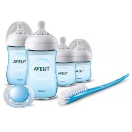 Philips AVENT - Set biberoane Natural pentru nou nascuti, Bleu SCD301/04