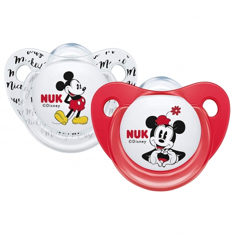 NUK - Suzete Disney Minnie Mouse, 2 buc, 0-6 luni alb/rosu