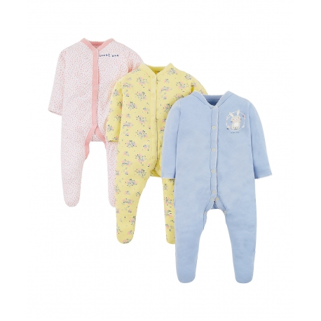 Mothercare - Pijamale body all-in-one Sweet Bunny, 3 buc