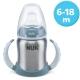 NUK - Canita de inox cu manere First Choice+ 150ml, 6 luni+, Bleu