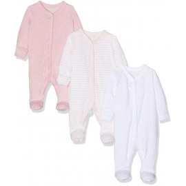 Mothercare - Pijamale body all-in-one Flausate, Roz, 3 buc