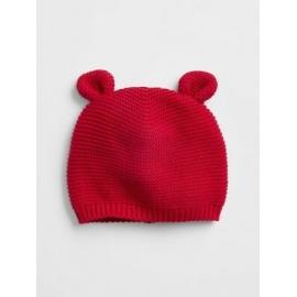 GAP - Caciula bebelusi bumbac Bear Knit, Rosu