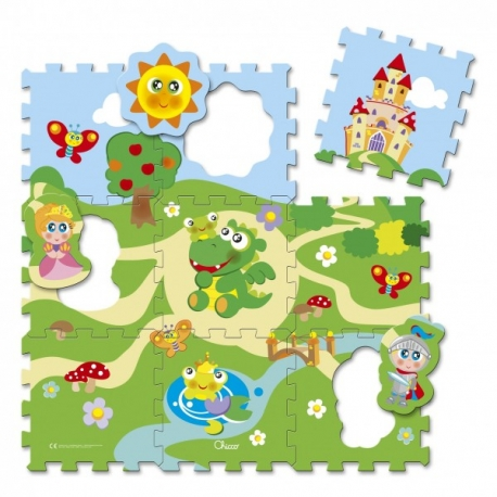 Chicco - Covor tip puzzle 93 x 93 cm, 9 piese Castel