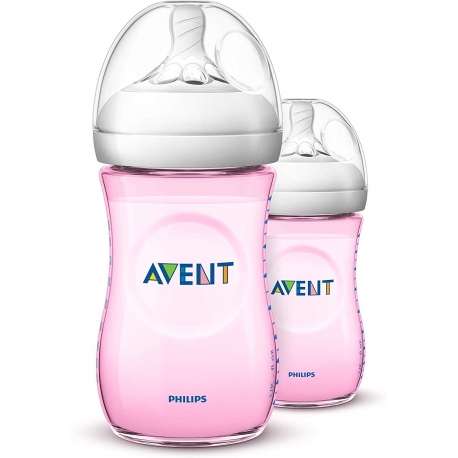 Philips AVENT - Set Biberoane Natural, 2x260 ml, Roz, 1 luni +