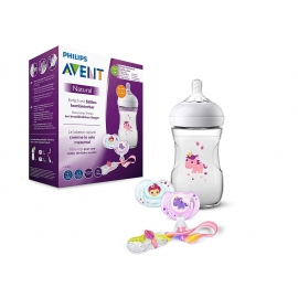Philips AVENT - Set cadou Natural, Biberon 260 ml, doua suzete, Clema pentru suzeta, Unicorn