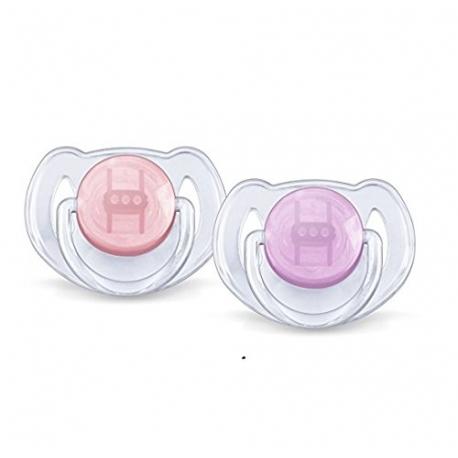 Philips AVENT - Suzete Translucent, 6-18 luni, roz/mov, 2 buc