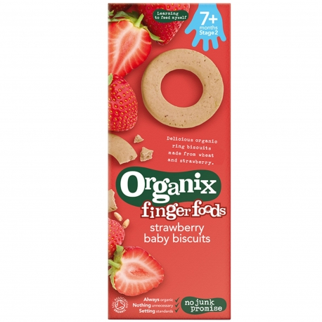 Organix - Biscuiti Finger pentru Bebelusi, Capsuni, 7+ luni