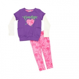 Converse - All Star Infant Set Bluza si Colanti, Paper Pink
