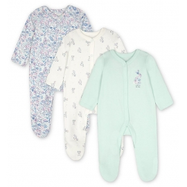 Mothercare - Pijamale body all-in-one Girl Bunny, 3 buc