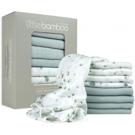 Little Bamboo - Muselina din bambus organic Squares, 8 buc, 60*60 cm Whisper Grey