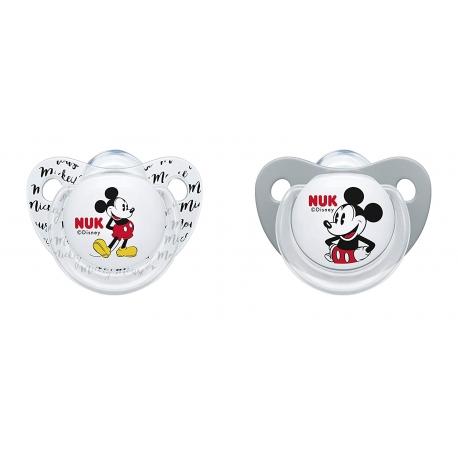 NUK - Suzete Disney Mickey Mouse, 2 buc, 0-6 luni alb/gri