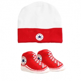 Converse - Set 2 piese Hat&Booties All Star, 0-6 luni, Rosu