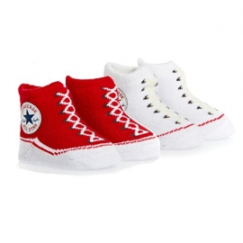 Converse - All Star Infant Booties, 0-6 luni, Gri/Rosu