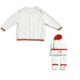 Natures Purest - Set Knitted Organic, Bluza, Caciula si Manusi, Crem/Orange