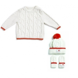 Natures Purest - Set Knitted, Bluza, Caciula si Manusi, Crem/Orange