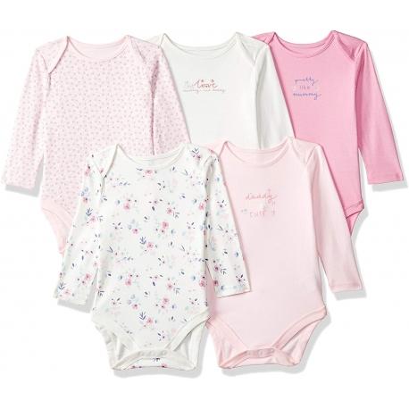 Mothercare - Set Body cu maneca lunga Pink Flowers, 5 buc
