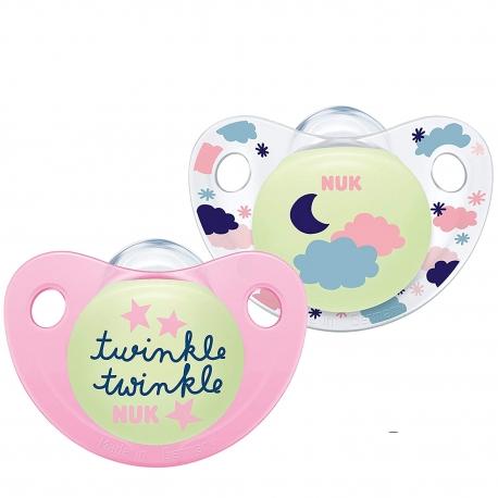 NUK - Suzete Ortodontice Night & Day, Pink, 2 buc, 0-6 luni