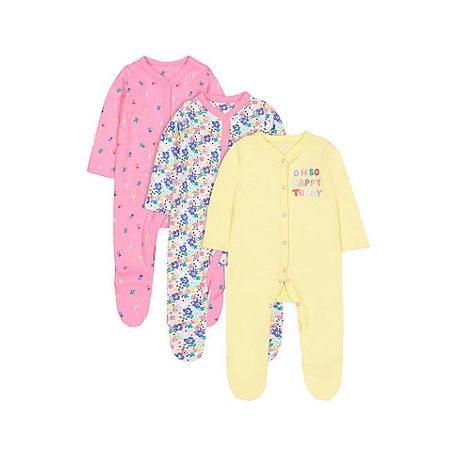 Mothercare - Pijamale body all-in-one Brights Girl, 3 buc
