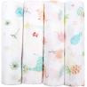 Softan - Museline din bambus pentru infasat, 4 buc, 120*120 cm, fete